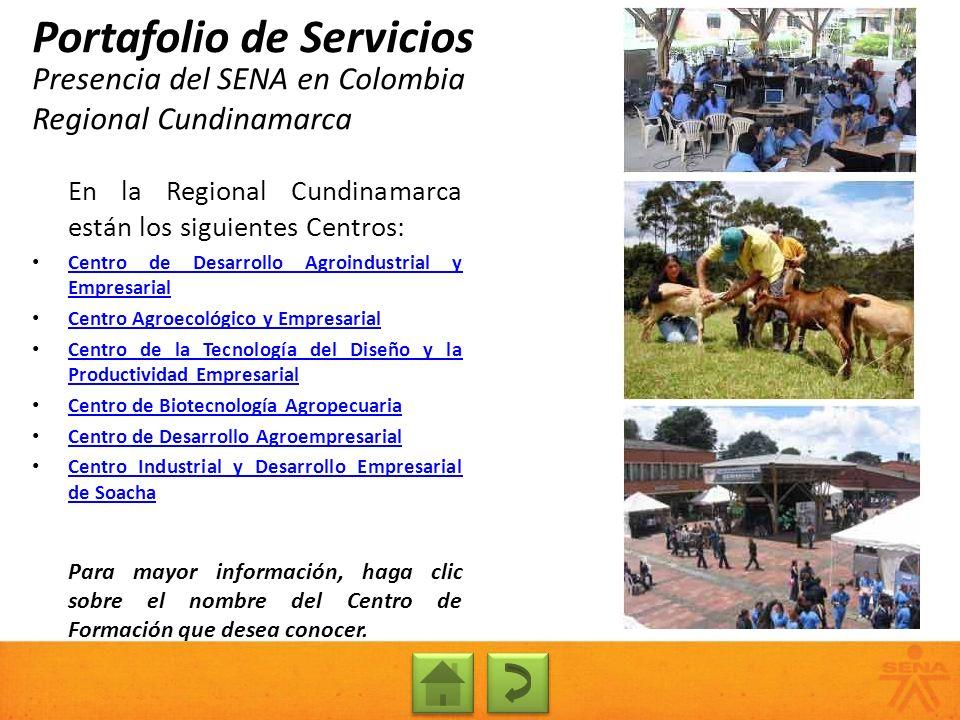 Presencia del SENA en Colombia Regional Cundinamarca