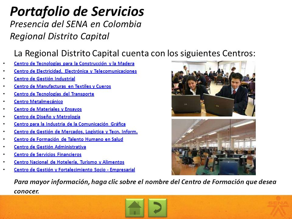 Presencia del SENA en Colombia Regional Distrito Capital
