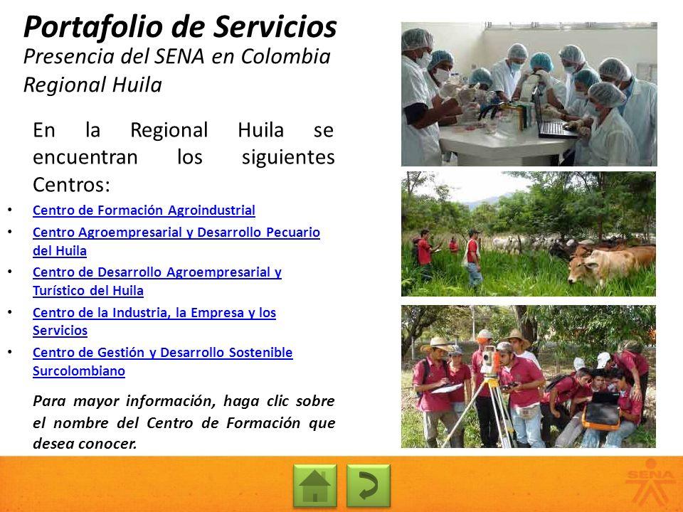 Presencia del SENA en Colombia Regional Huila