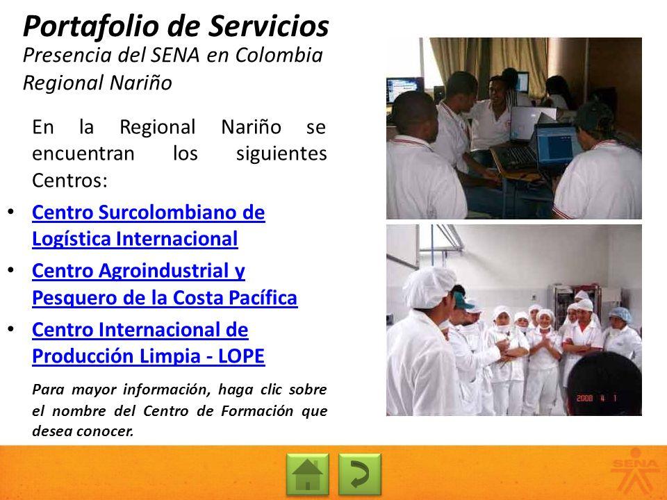 Presencia del SENA en Colombia Regional Nariño