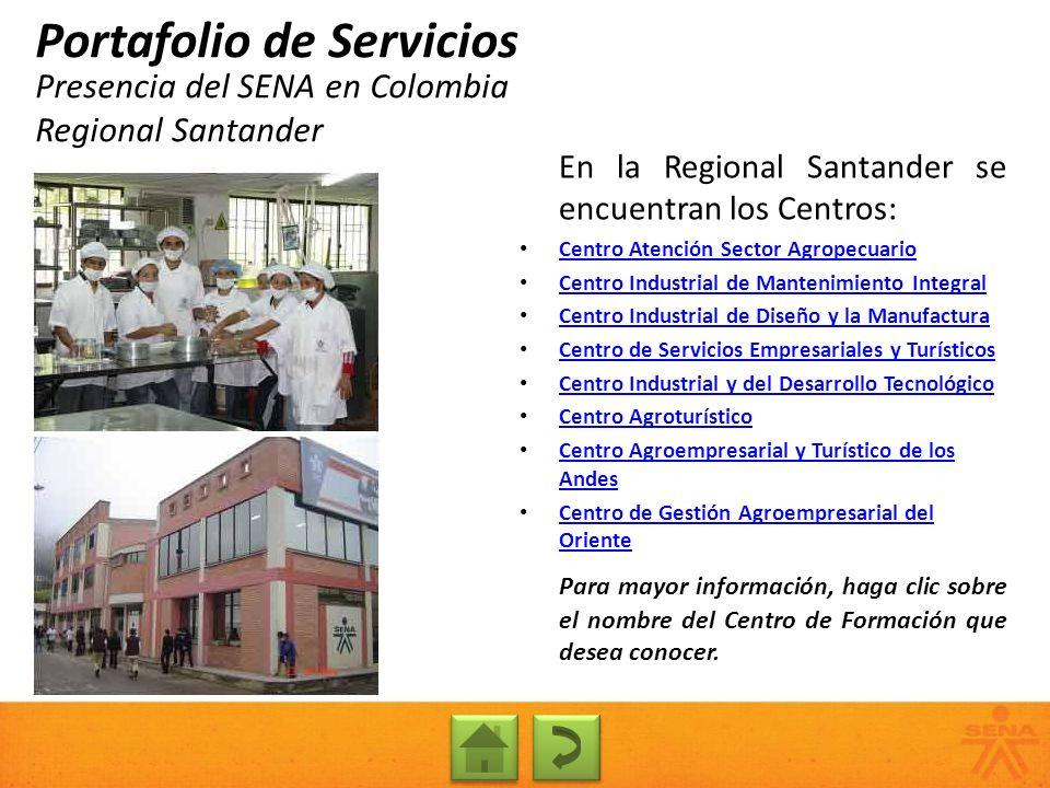 Presencia del SENA en Colombia Regional Santander