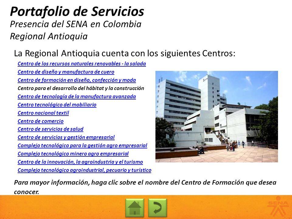Presencia del SENA en Colombia Regional Antioquia