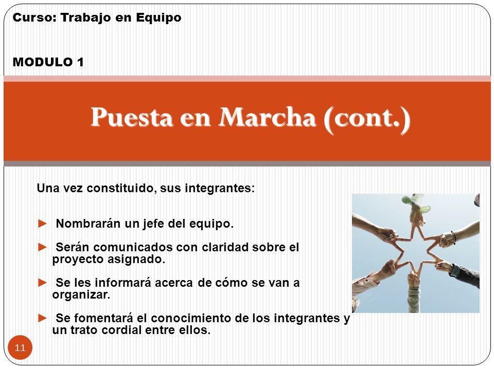 Puesta en Marcha (cont.)