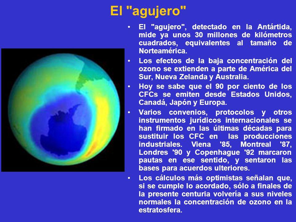 El agujero El agujero , detectado en la Antártida, mide ya unos 30 millones de kilómetros cuadrados, equivalentes al tamaño de Norteamérica.