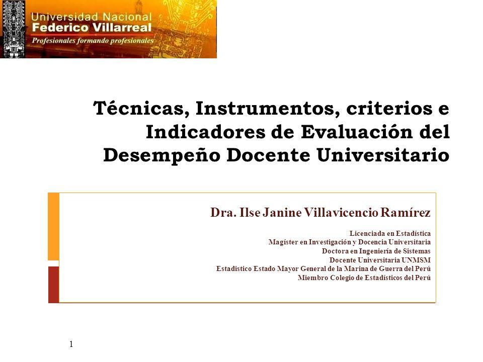 Técnicas, Instrumentos, criterios e Indicadores de Evaluación del Desempeño Docente Universitario