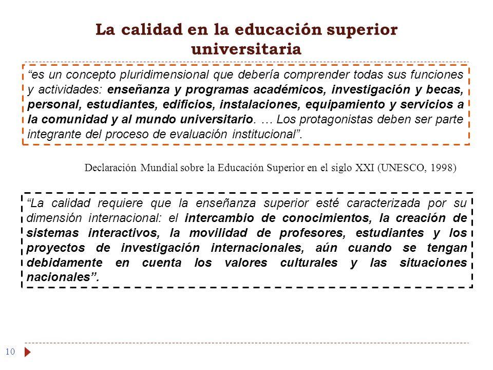 La calidad en la educación superior universitaria