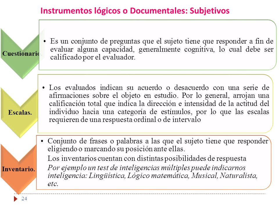 Instrumentos lógicos o Documentales: Subjetivos