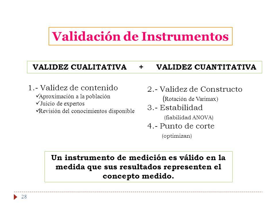 Validación de Instrumentos VALIDEZ CUALITATIVA + VALIDEZ CUANTITATIVA