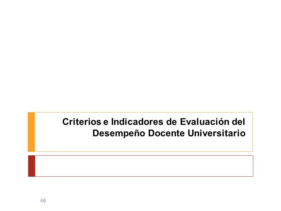 Criterios e Indicadores de Evaluación del Desempeño Docente Universitario