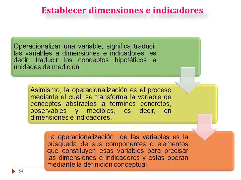 Establecer dimensiones e indicadores