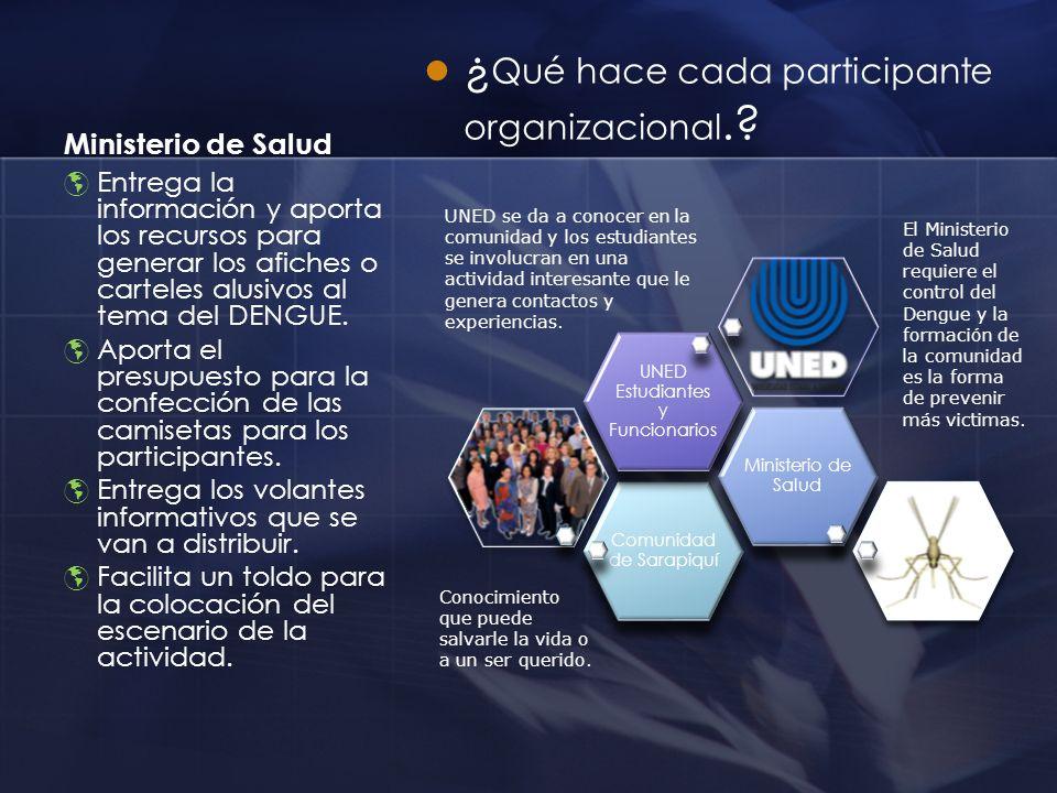 ¿Qué hace cada participante organizacional.