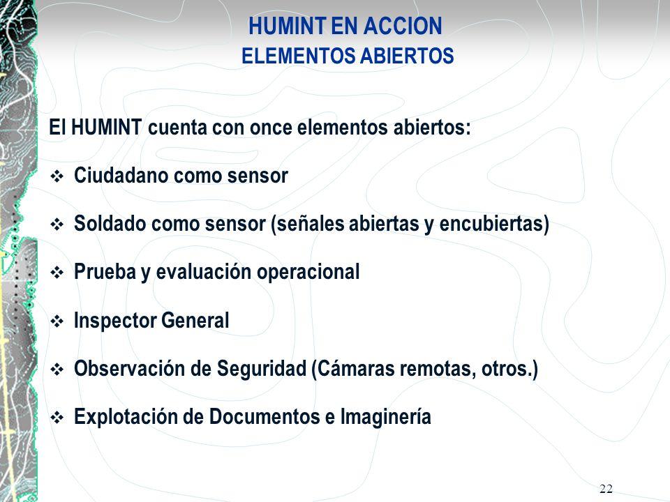 HUMINT EN ACCION ELEMENTOS ABIERTOS