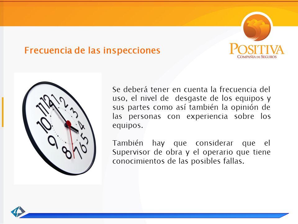Frecuencia de las inspecciones