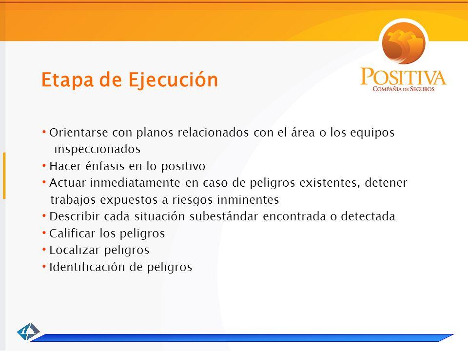 Etapa de Ejecución. Orientarse con planos relacionados con el área o los equipos. inspeccionados.