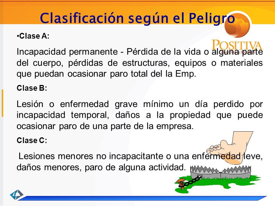 Clasificación según el Peligro