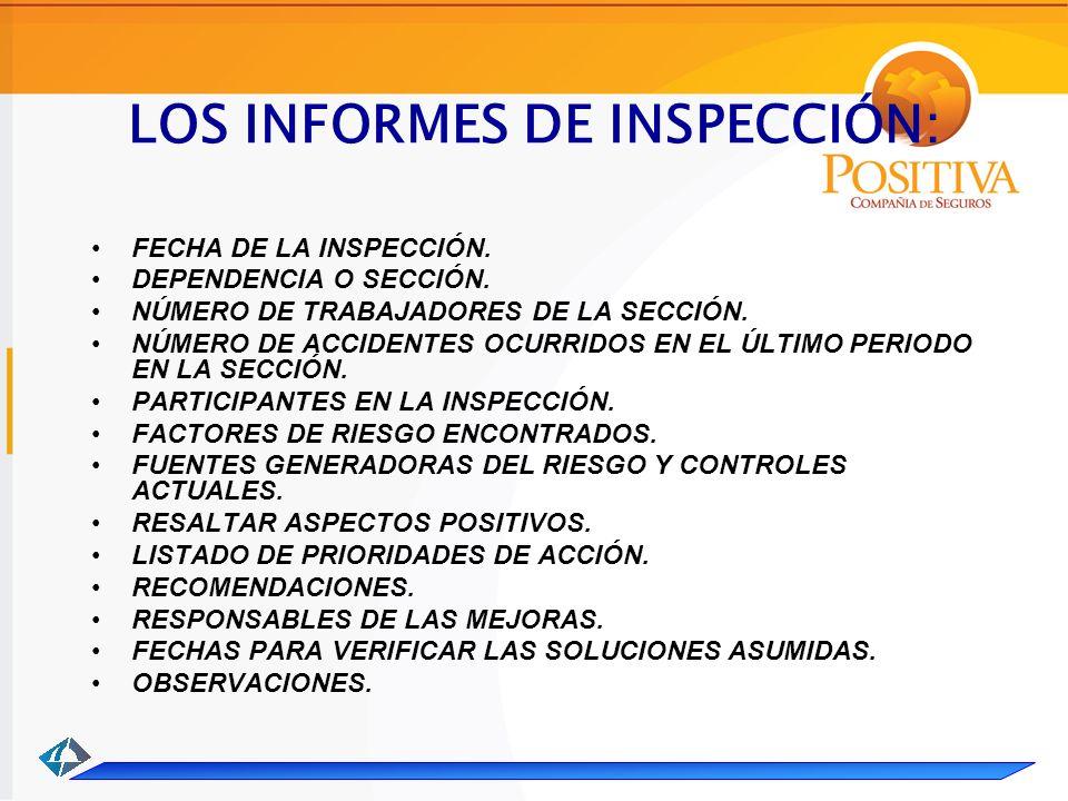 LOS INFORMES DE INSPECCIÓN: