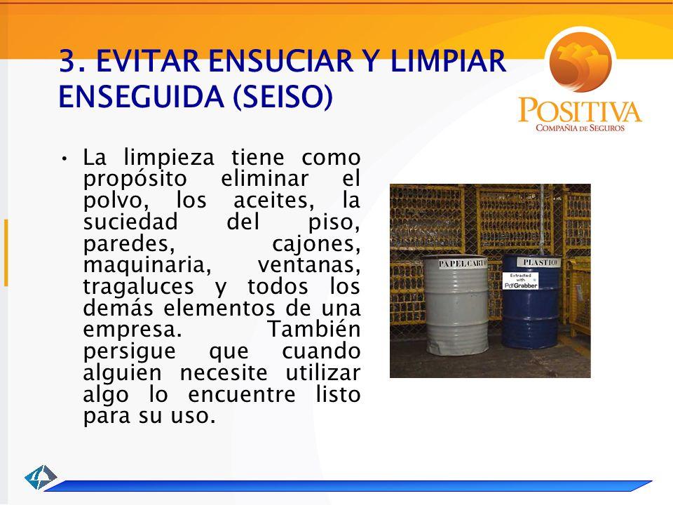 3. EVITAR ENSUCIAR Y LIMPIAR ENSEGUIDA (SEISO)