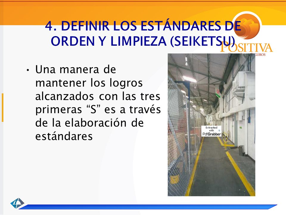 4. DEFINIR LOS ESTÁNDARES DE ORDEN Y LIMPIEZA (SEIKETSU)