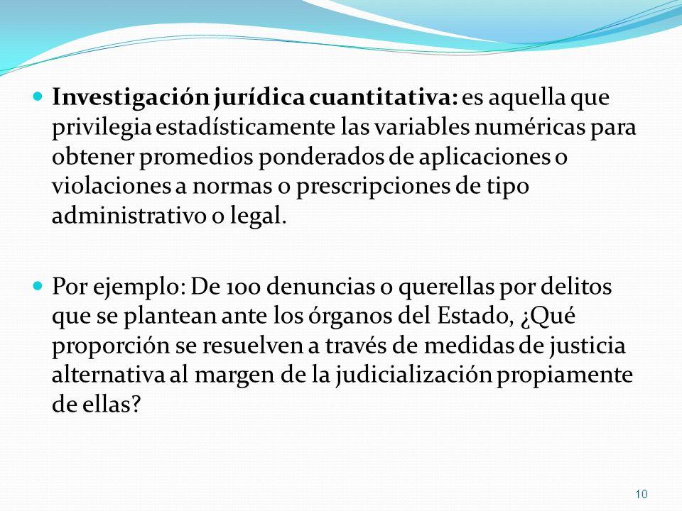 Investigación jurídica cuantitativa: es aquella que privilegia estadísticamente las variables numéricas para obtener promedios ponderados de aplicaciones o violaciones a normas o prescripciones de tipo administrativo o legal.