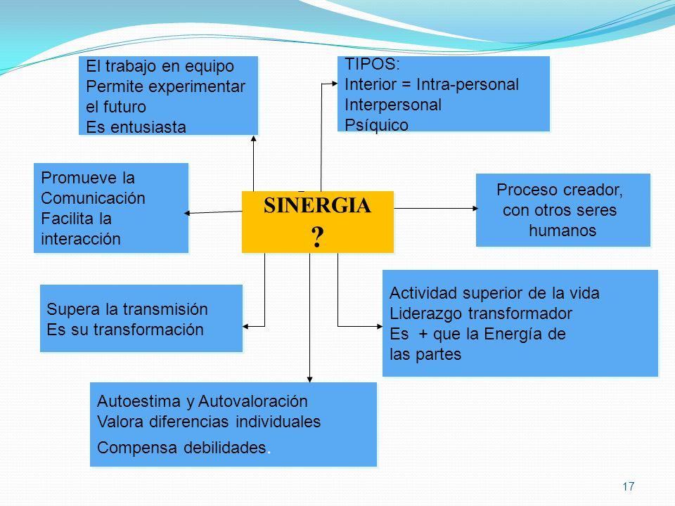 SINERGIA El trabajo en equipo TIPOS: Permite experimentar