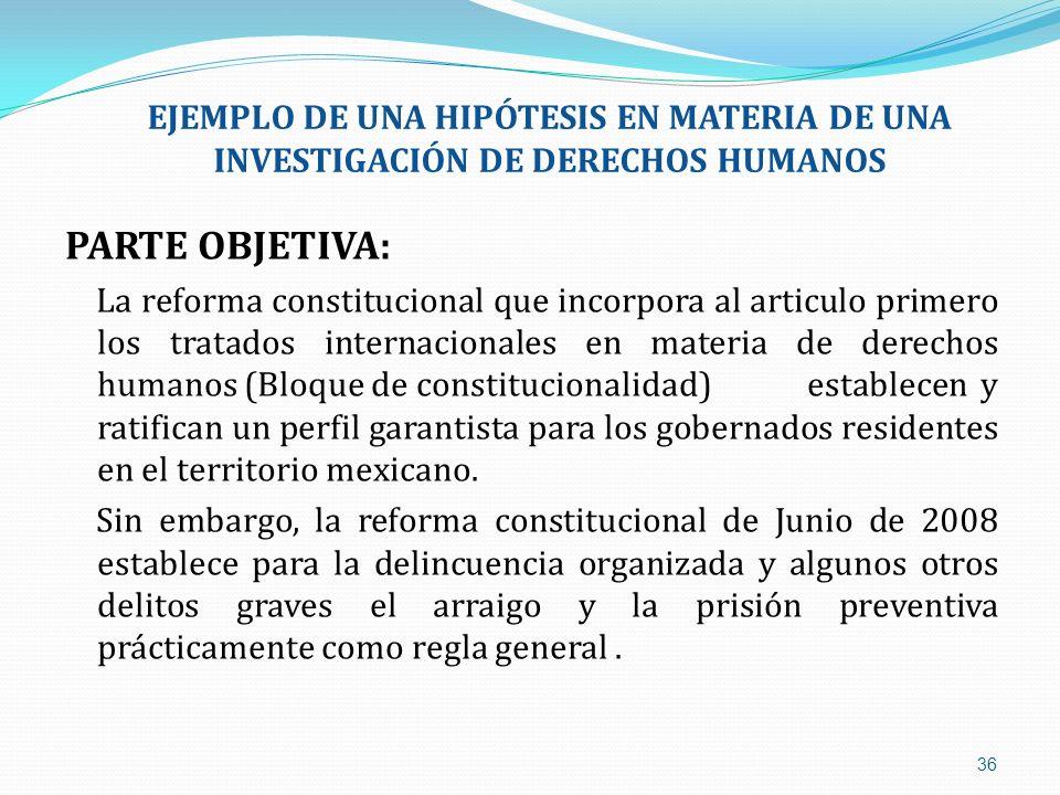 EJEMPLO DE UNA HIPÓTESIS EN MATERIA DE UNA INVESTIGACIÓN DE DERECHOS HUMANOS
