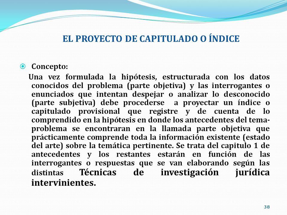 EL PROYECTO DE CAPITULADO O ÍNDICE