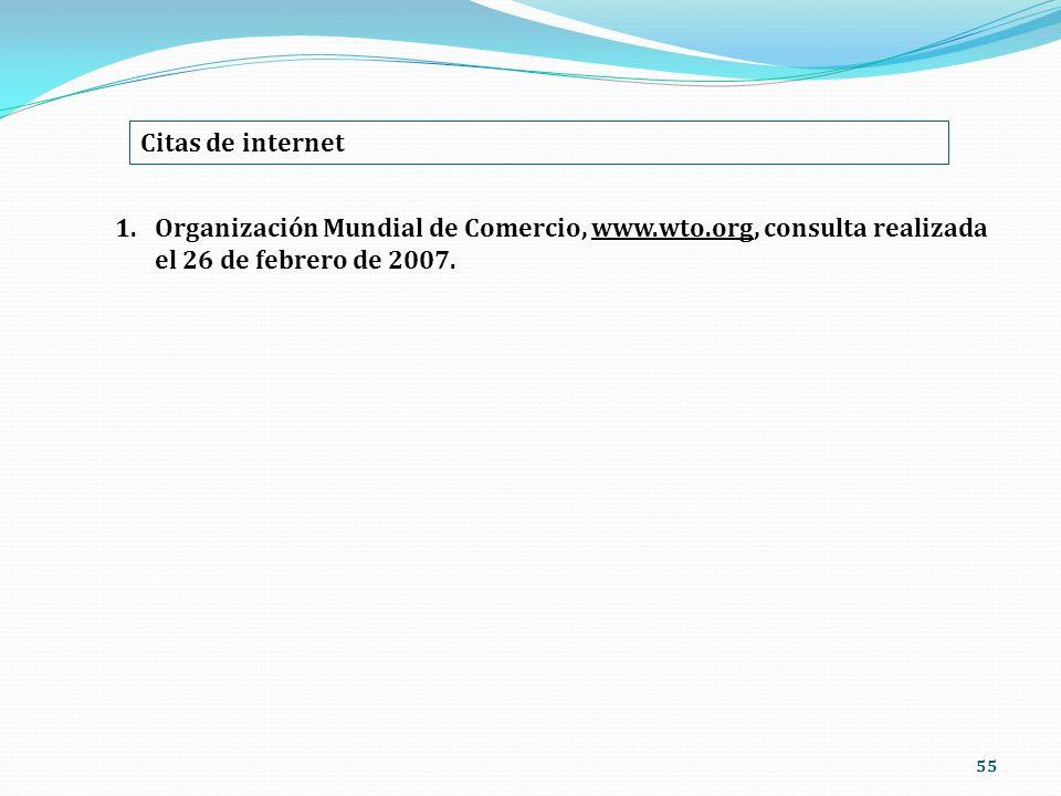 Citas de internet Organización Mundial de Comercio, www.wto.org, consulta realizada el 26 de febrero de 2007.