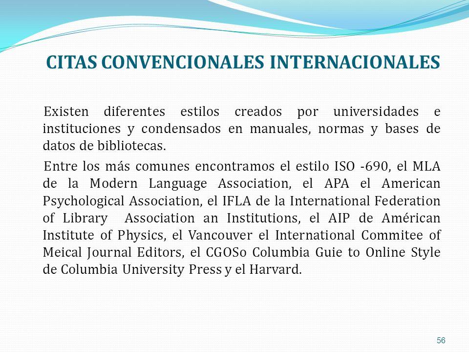 CITAS CONVENCIONALES INTERNACIONALES