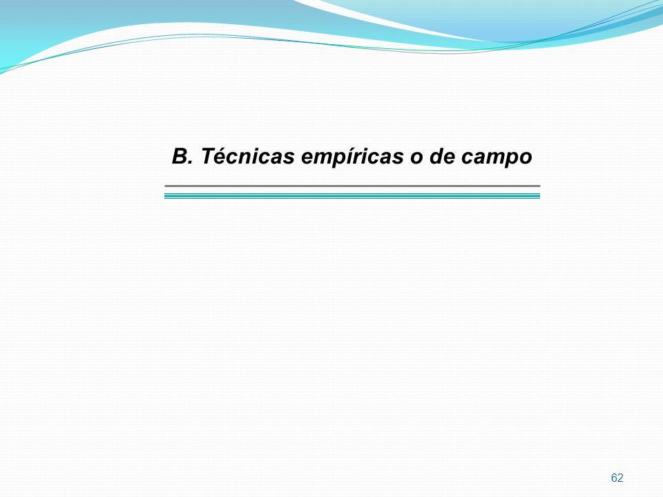 B. Técnicas empíricas o de campo