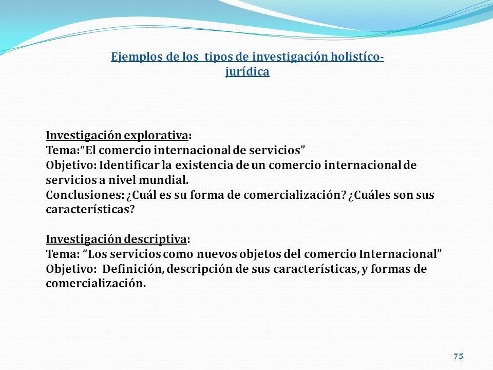 Ejemplos de los tipos de investigación holistíco-jurídica