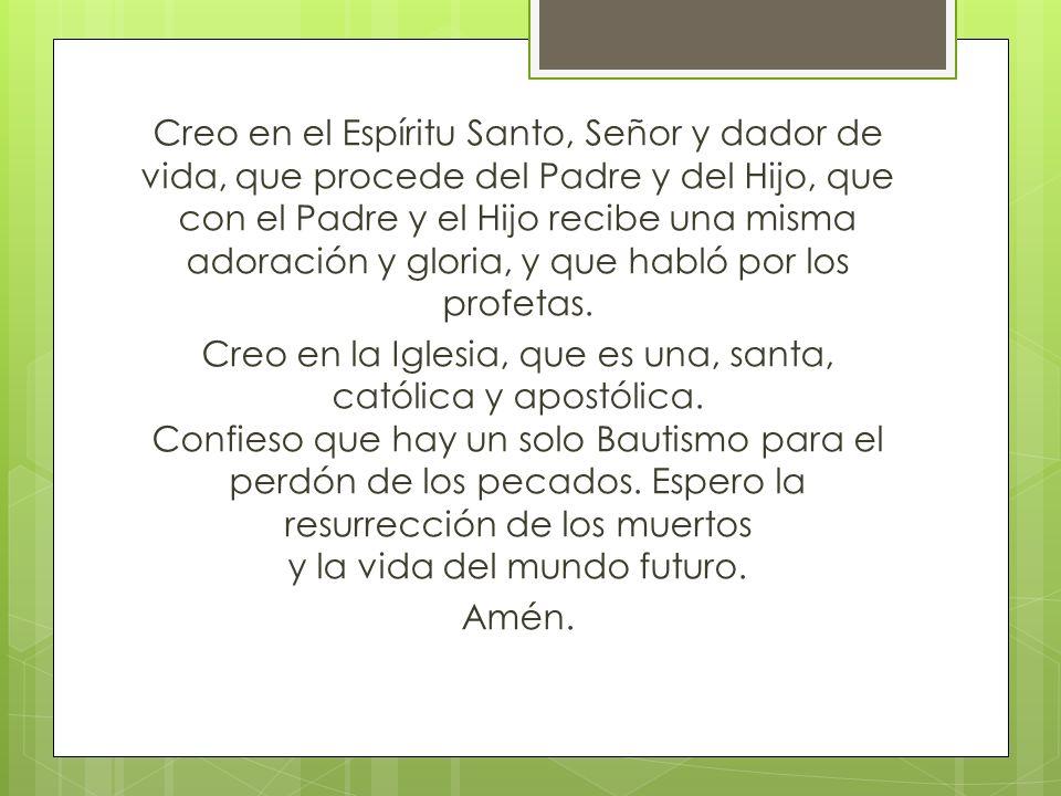 Creo en el Espíritu Santo, Señor y dador de vida, que procede del Padre y del Hijo, que con el Padre y el Hijo recibe una misma adoración y gloria, y que habló por los profetas.