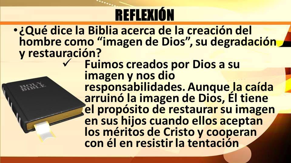 REFLEXIÓN ¿Qué dice la Biblia acerca de la creación del hombre como imagen de Dios , su degradación y restauración