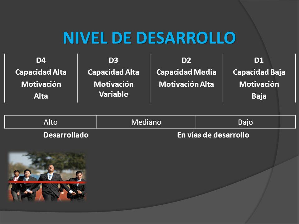 NIVEL DE DESARROLLO D4 Capacidad Alta Motivación Alta D3