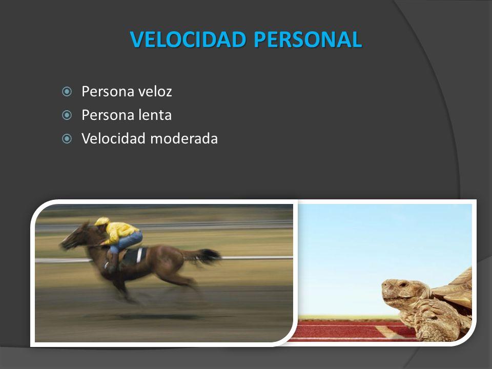 VELOCIDAD PERSONAL Persona veloz Persona lenta Velocidad moderada
