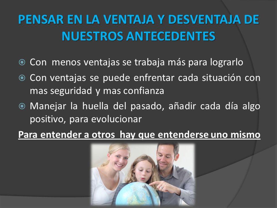 PENSAR EN LA VENTAJA Y DESVENTAJA DE NUESTROS ANTECEDENTES