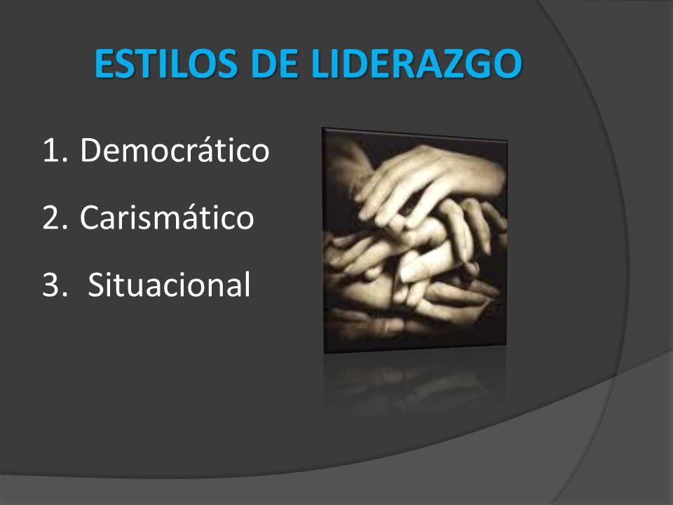 ESTILOS DE LIDERAZGO Democrático Carismático Situacional