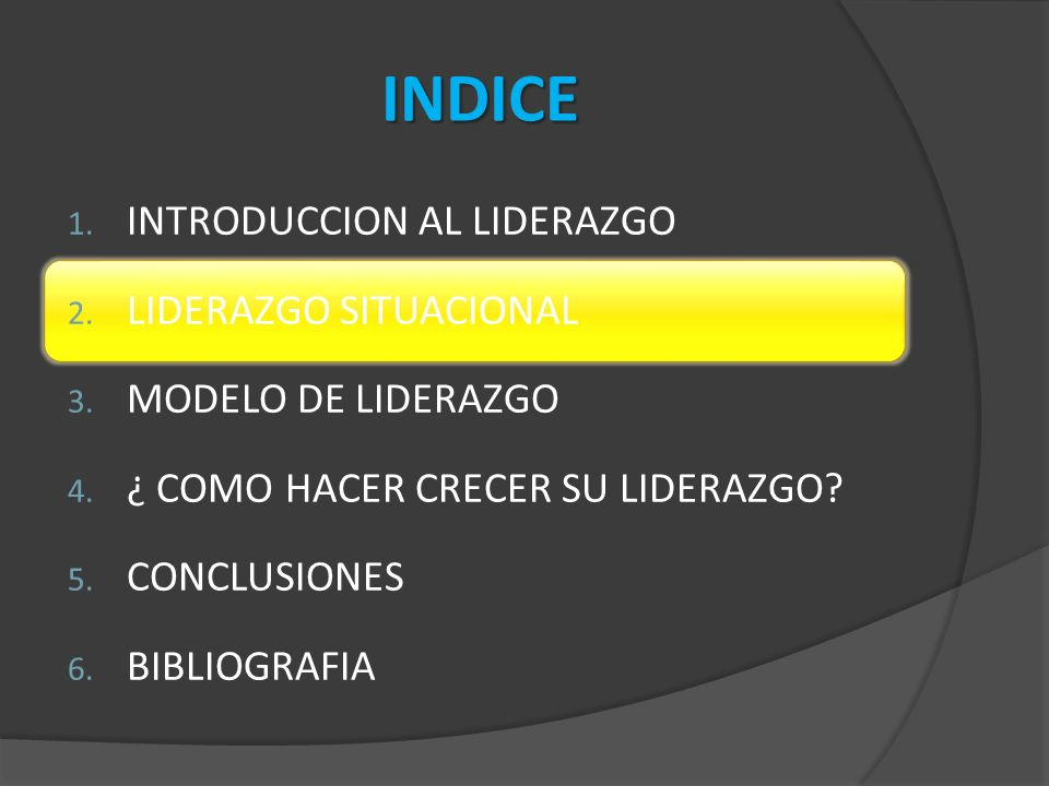 INDICE INTRODUCCION AL LIDERAZGO LIDERAZGO SITUACIONAL