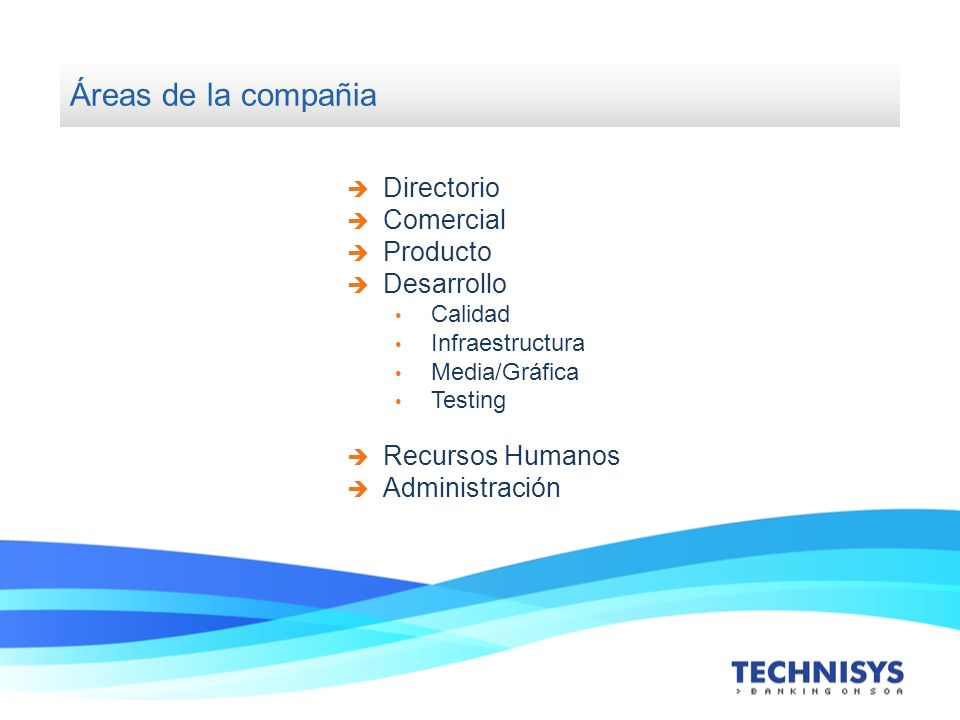 Áreas de la compañia Directorio Comercial Producto Desarrollo