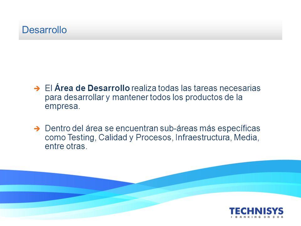 Desarrollo El Área de Desarrollo realiza todas las tareas necesarias para desarrollar y mantener todos los productos de la empresa.