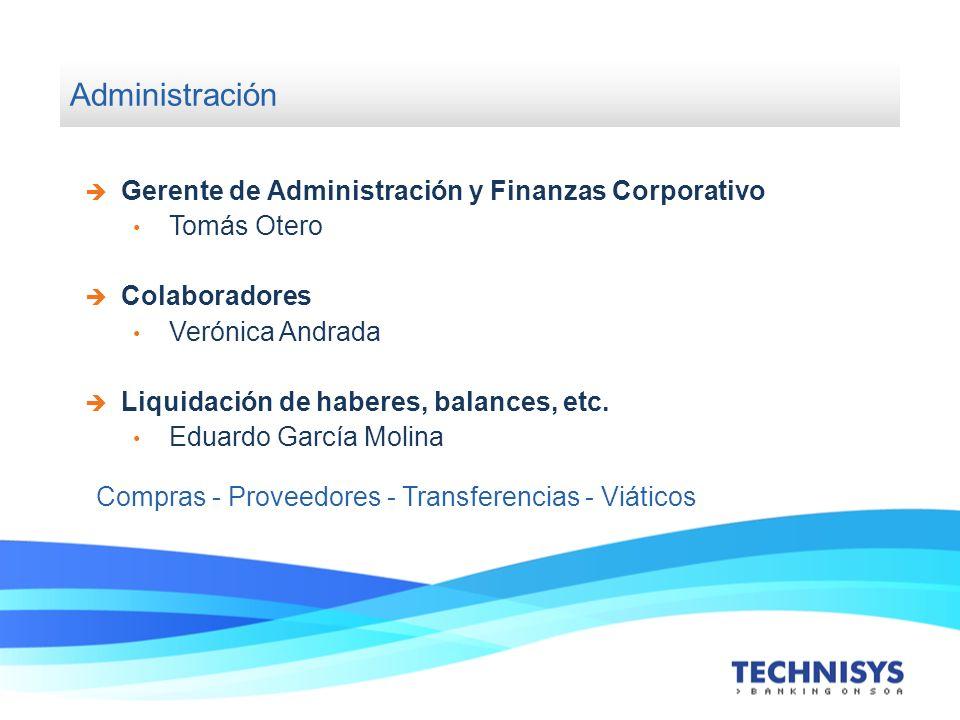 Administración Gerente de Administración y Finanzas Corporativo