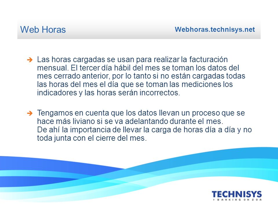 Web Horas Webhoras.technisys.net.
