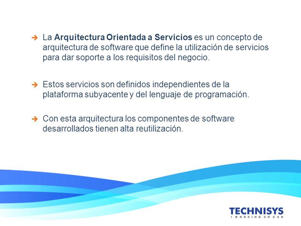 La Arquitectura Orientada a Servicios es un concepto de arquitectura de software que define la utilización de servicios para dar soporte a los requisitos del negocio.