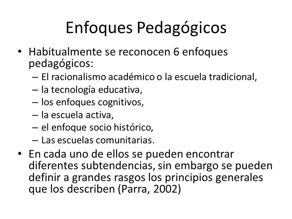 Enfoques Pedagógicos Habitualmente se reconocen 6 enfoques pedagógicos: El racionalismo académico o la escuela tradicional,