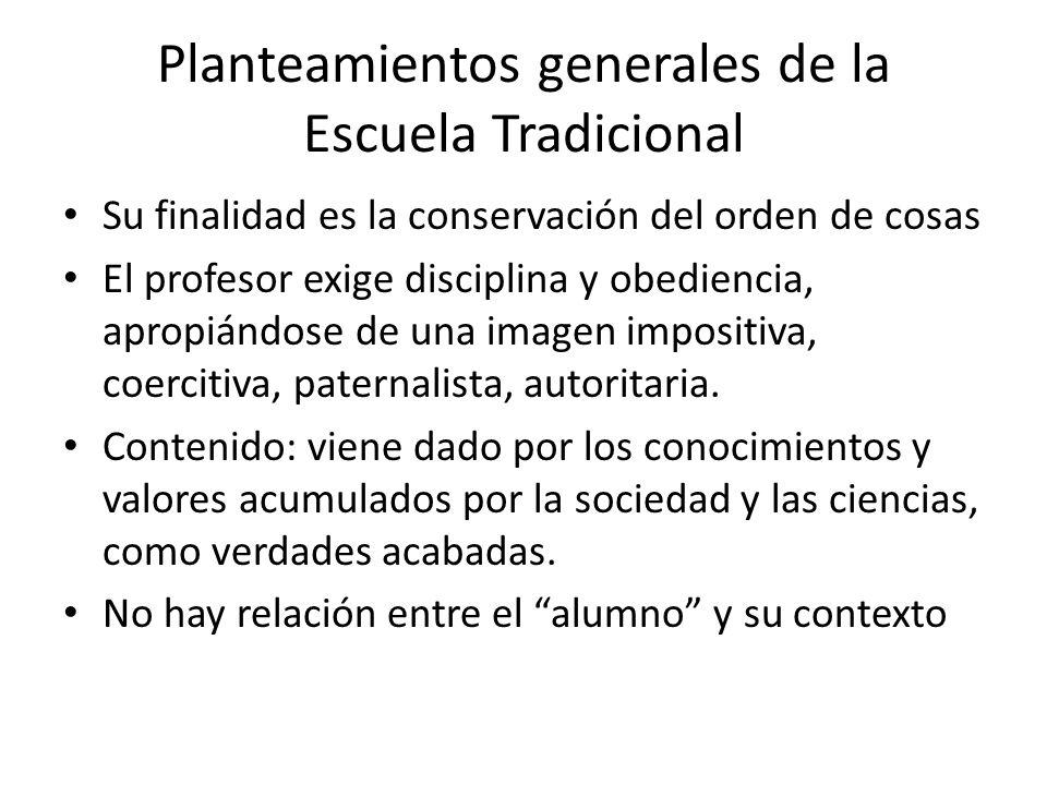 Planteamientos generales de la Escuela Tradicional