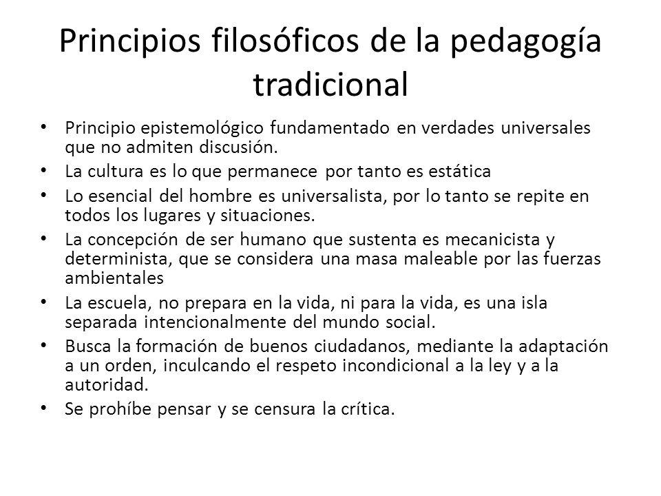 Principios filosóficos de la pedagogía tradicional