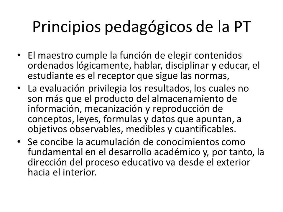 Principios pedagógicos de la PT
