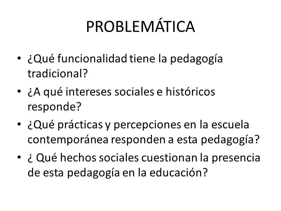 PROBLEMÁTICA ¿Qué funcionalidad tiene la pedagogía tradicional