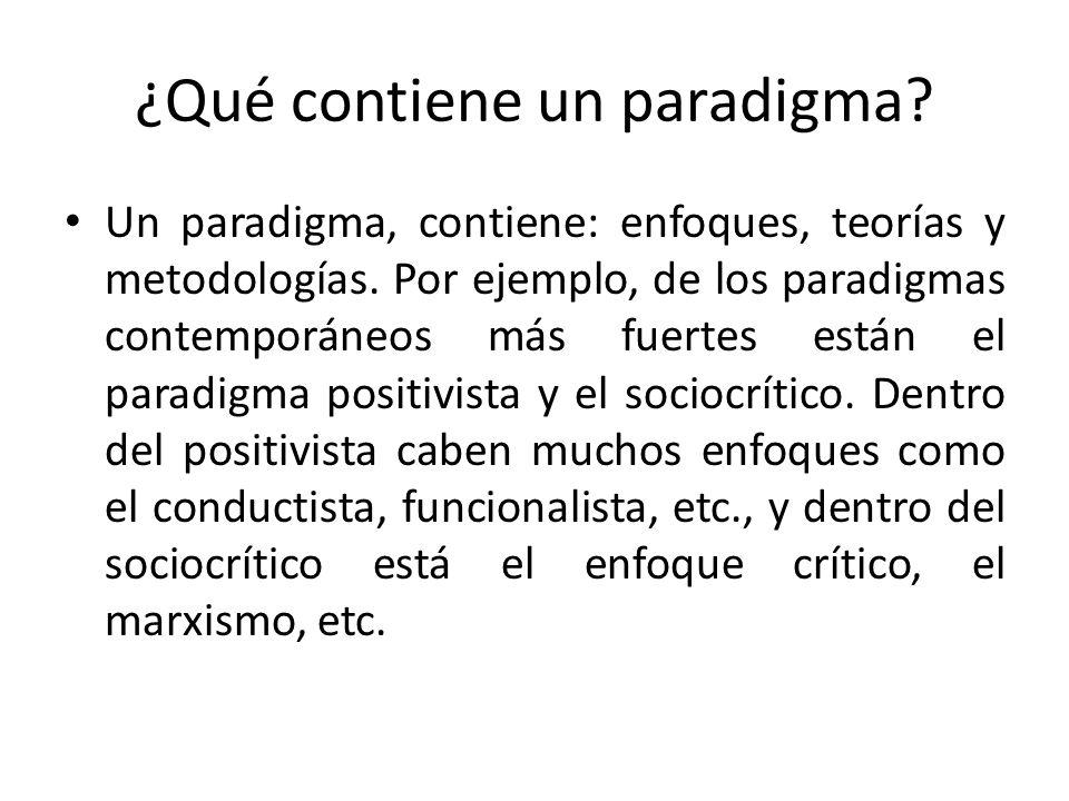 ¿Qué contiene un paradigma