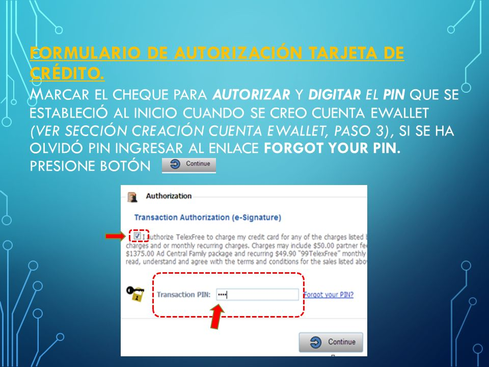 Formulario de autorización Tarjeta de crédito