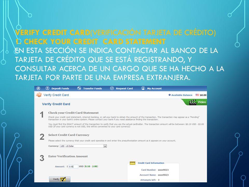 Verify Credit Card(verificación tarjeta de crédito) 1